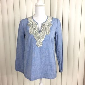 Boden Blue Chambray Long Sleeve Blouse 4